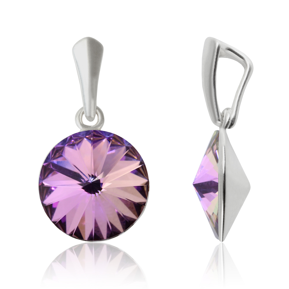 Plata-Esterlina-Rivoli-Colgantes-con-SWAROVSKI-1122-14mm-Cristal-Popular-Colores