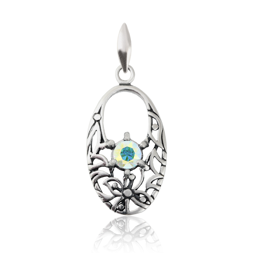 Sterling-Silver-Oval-Shape-Pendant-made-with-1088-Chaton-7mm-Swarovski-Crystals