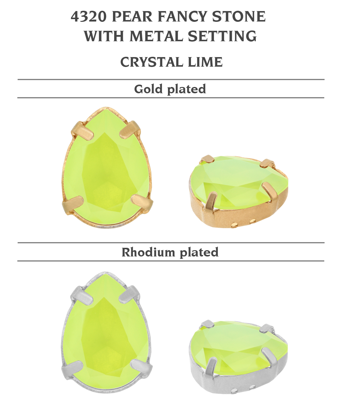 Genuine-SWAROVSKI-4320-Pear-Fancy-Stones-with-Sew-On-Metal-Setting-Many-Colors miniatuur 13