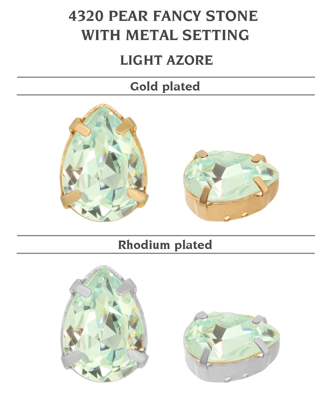 Genuine-SWAROVSKI-4320-Pear-Fancy-Stones-with-Sew-On-Metal-Setting-Many-Colors miniatuur 26